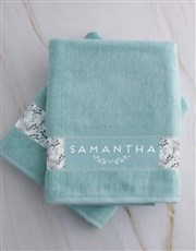 Personalised Protea Duck Egg Towel Set