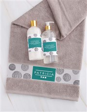Personalised Circles Stone Towel Set