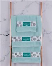 Personalised Circles Duck Egg Towel Set