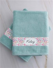 Personalised Floral Duck Egg Towel Gift Set