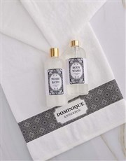 Personalised Damask White Towel Set