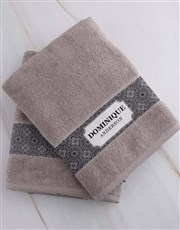 Personalised Damask Stone Towel Set