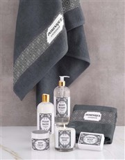 Personalised Damask Charcoal Towel Set