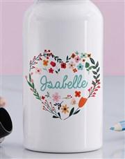 Personalised Floral Heart Girls Bottle