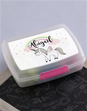 Personalised Unicorn Girls Lunch Box