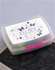 Personalised Butterfly Girls Lunch Box