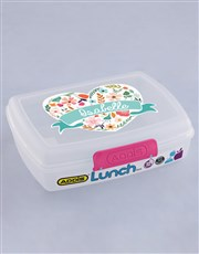 Personalised Floral Heart Girls Lunch Box