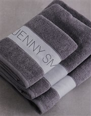 Personalised Modern Name Charcoal Towel set