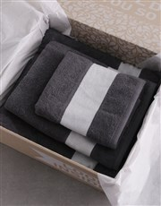 Personalised Crest Charcoal Towel Set