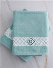 Personalised Crest Duck Egg Towel Set