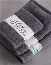 Personalised Charcoal Butterfly Towel Set