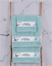 Personalised Butterfly Duck Egg Towel Set