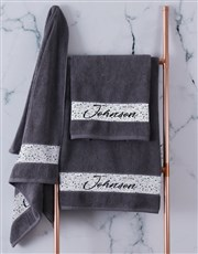 Personalised Family Charcoal Towel Set