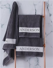 Personalised Charcoal Scroll Towel Set