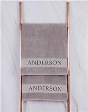 Personalised Stone Scroll Towel Set