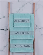 Personalised Duck Egg Scroll Towel Set