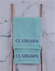 Personalised Surname Duck Egg  Towel Set