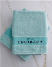Personalised Husband and Wife Duck Egg Towel Set