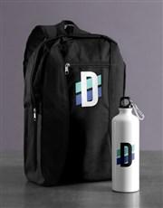 Personalised Initial Backpack & Waterbottle