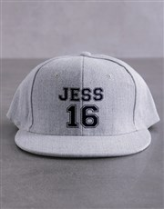 Personalised Player Grey Flat Peak Cap