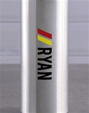Personalised Silver Racing Stripe Waterbottle