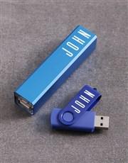 Personalised Blue Powerbank Set