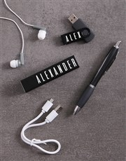 Personalised Black Powerbank Set