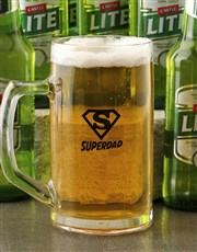 Personalised Superdad Beer Mug