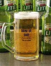 Personalised Drink Up Dad Beer Mug