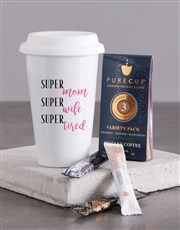 Personalised Super Mom Ceramic Travel Mug