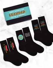 Personalised 3 Pair Socks Box Grandad Father's Day
