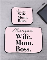 Personalised Wife Mom Boss Tablet or Laptop Sleeve