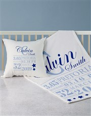 Personalised Baby Boy Birth Bed Set