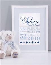 Personalised Framed Baby Boy Birth Print