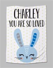 Personalised Bunny Baby Fleece Blanket