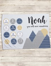 Personalised Move Mountains Milestone Blanket