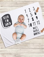 Personalised Hello Milestone Blanket