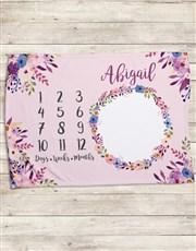 Personalised Floral Milestone Blanket