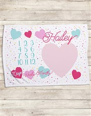 Personalised Hearts Milestone Blanket