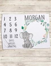 Personalised Elephant Milestone Blanket