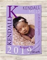 Personalised Baby Girl Birth Blanket