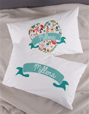 Personalised Floral Heart Pillow Case Set