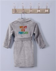 Personalised Dream Big Grey Fleece Gown