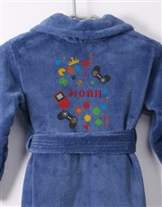 Personalised Games Blue Fleece Gown