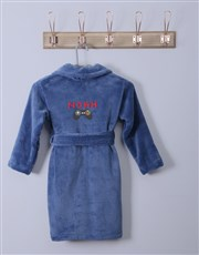 Personalised Remote Blue Fleece Gown