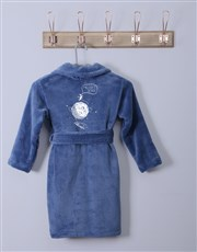 Personalised Space Blue Fleece Gown