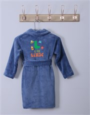 Personalised Monster Blue Fleece Gown