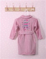 Personalised Bright Heart Pink Fleece Gown