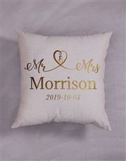 Personalised Gold Foil Mr and Mrs Scatter Cushion