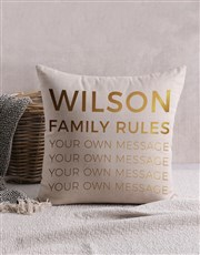 Personalised Gold Foil Family Rules Scatter Cushio